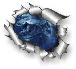 Ripped Torn Metal Design With Blue Snake Motif External Vinyl Car Sticker 105x130mm